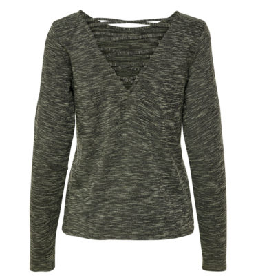 Only Play Ginula Green Long Sleeved Lace Back Yoga Top