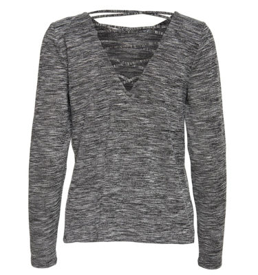 Only Play Ginula Grey Long Sleeved Lace Back Yoga Top