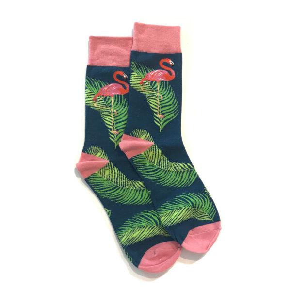 Lucky Pair Socks - Flamingo & Palm Navy