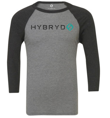 Hybryd Mens Baseball 3/4 Sleeve T - Heather/Black