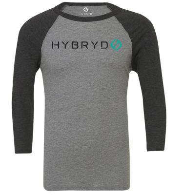 Hybryd Mens Baseball 3/4 Sleeve T - Heather/Black