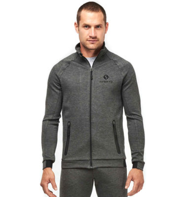 Hybryd Excel Zip up Track - Dark Heather Grey